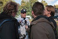 24 October 2010: Boris Marche of Rouen answers journalists as Rouen defeats 5-1 Savigny, during game 4 of the French championship finals, in Rouen, France. Rouen wins his 7th French Championship in 8 years.