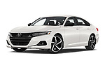Stock pictures of low aggressive front three quarter view of 2021 Honda Accord-Sedan Sport-SE 4 Door Sedan Low Aggressive