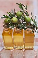 Afrique/Afrique du Nord/Maroc/Province d'Agadir/Tighanimine Elbaz: Bouteilles d' Huile d'Argan artisanale et affiache,fruit de l'arganier, dont la noix sert à préparer l'huile, de la Coopérative féminine de Tighanimine Elbaz // <br /> Africa / North Africa / Morocco / Province of Agadir / Tighanimine Elbaz: Bottles of Argan oil hand-made and sour, fruit of the argan tree, whose nut is used to prepare the oil, of the Women's Cooperative of Tighanimine Elbaz