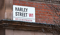 HARLEY STREET W1 street sign as Beast from the East weather continues at City of London, London, England on 1 March 2018. Photo by Andy Rowland.