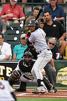 Jupiter Hammerheads second baseman Rehiner Cordova (1) at bat in front of catcher Jin-De Jhang (47) during a game against the Bradenton Marauders on April 17, 2015 at McKechnie Field in Bradenton, Florida.  Bradenton defeated Jupiter 11-6.  (Mike Janes/Four Seam Images)
