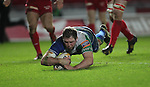 Connacht lock Mike Swift dives over to score a second half try..Scarlets v Connacht.Parc y Scarlets.Rabo Pro12.08.02.13.©Steve Pope-SPORTINGWALES