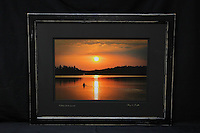 """""""Paddling into the Sunset"""", hand-made oak frame with distressed black finish, conservation grade matting, TruVue Museum Glass. Contact us for availability."""