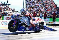 Sept. 22, 2013; Ennis, TX, USA: NHRA pro stock motorcycle rider Hector Arana Sr during the Fall Nationals at the Texas Motorplex. Mandatory Credit: Mark J. Rebilas-