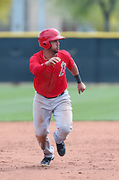 Exicardo Cayones #46 of the Los Angeles Angels runs the bases during a Minor League Spring Training Game against the Chicago Cubs at the Los Angeles Angels Spring Training Complex on March 23, 2014 in Tempe, Arizona. (Larry Goren/Four Seam Images)