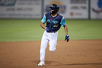Jonathan Rodriguez (32) of the Lynchburg Hillcats hustles towards third base against the Myrtle Beach Pelicans at Bank of the James Stadium on May 22, 2021 in Lynchburg, Virginia. (Brian Westerholt/Four Seam Images)