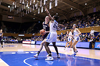 DURHAM, NC - NOVEMBER 17: Abbie Wolf #21 of Northwestern University drives against Onome Akinbode-Jones #24 of Duke University during a game between Northwestern University and Duke University at Cameron Indoor Stadium on November 17, 2019 in Durham, North Carolina.