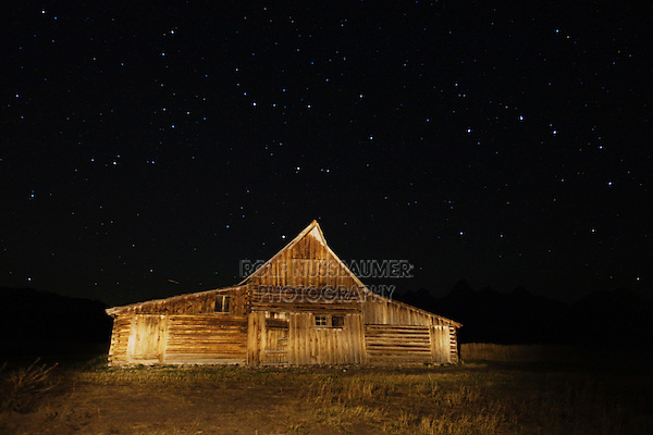 Old wooden Barn at night with stars, Antelope Flats, Grand Teton NP,Wyoming, USA