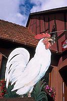 Europe/France/Alsace/67/Bas-Rhin/La Petite Pierre: Détail enseigne de restaurant représentant un coq blanc