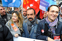 October 10 2017, Paris, France. Demonstration against the Labor Law.<br /> Philippe Martinez the CGT leader was present. # MANIFESTATION CONTRE LA LOI TRAVAIL
