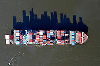 Containerschiff auf der Elbe: EUROPA, DEUTSCHLAND, HAMBURG, (EUROPE, GERMANY), 05.03.2011: Containerschiff auf der Elbe, Europa, Deutschland, Hamburg, Berufsschiffahrt, Berufsschiffahrt , Berufsschifffahrt, Gueter, Gueterverkehr, Handel, Import, Schatten, Siluette, Berge von Containern, Schiff, Schiffahrt, Schifffahrt,  Schiffssportraits, Seehandel, Transport, Transporter, verfrachten, Verkehrsmittel, Ware, Warenstrom, Welthandel, Luftbild, Luftaufnahme, <br /> <br /> <br /> <br /> c o p y r i g h t : A U F W I N D - L U F T B I L D E R . de<br /> G e r t r u d - B a e u m e r - S t i e g 1 0 2, <br /> 2 1 0 3 5 H a m b u r g , G e r m a n y<br /> P h o n e + 4 9 (0) 1 7 1 - 6 8 6 6 0 6 9 <br /> E m a i l H w e i 1 @ a o l . c o m<br /> w w w . a u f w i n d - l u f t b i l d e r . d e<br /> K o n t o : P o s t b a n k H a m b u r g <br /> B l z : 2 0 0 1 0 0 2 0 <br /> K o n t o : 5 8 3 6 5 7 2 0 9