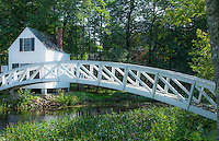 Somesville Maine near Bar Harbor beautiful curved white bridge over pond outside of Acadia National Park