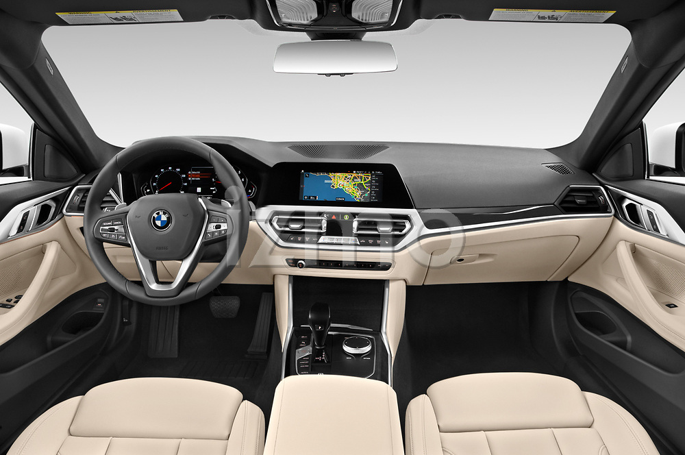 Straight dashboard view of a 2021 BMW 4 Series Coupe 430i 2 Door Coupe