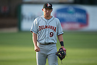 Delmarva Shorebirds infielder Drew Turbin (9) warms up in the outfield prior to the game against the Kannapolis Intimidators at Kannapolis Intimidators Stadium on April 11, 2016 in Kannapolis, North Carolina.  (Brian Westerholt/Four Seam Images)
