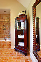 wooden cabinet in the bathroom