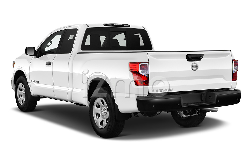 Car pictures of rear three quarter view of 2021 Nissan Titan S 4 Door Pick-up Angular Rear