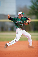 Dartmouth Big Green shortstop Nate Ostmo (19) throws to first base during a game against the Southern Maine Huskies on March 23, 2017 at Lake Myrtle Park in Auburndale, Florida.  Dartmouth defeated Southern Maine 9-1.  (Mike Janes/Four Seam Images)