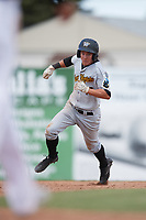 West Virginia Black Bears shortstop Andrew Walker (13) running the bases during a game against the Batavia Muckdogs on June 25, 2017 at Dwyer Stadium in Batavia, New York.  West Virginia defeated Batavia 6-4 in the completion of the game started on June 24th.  (Mike Janes/Four Seam Images)