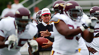 Washington Redskins head coach Steve Spurrier, center keeps his eye on the ball during the offensives' drills at camp Friday July 26, 2002 in Carlisle, Pa. (AP Photo/Brad C Bower)