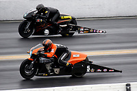 27th September 2020, Gainsville, Florida, USA;  Pro Stock Motorcycle drivers Eddie Krawiec (5) and Marc Ingwerson (370) during the 51st annual Amalie Motor Oil NHRA Gatornationals