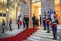 EDOUARD PHILIPPE - LE PREMIER MINISTRE EDOUARD PHILIPPE RECOIT LE PRESIDENT EGYPTIEN ABDEL FATTAH AL-SISSI A L'HOTEL DE MATIGNON, PARIS, FRANCE, LE 24/10/2017.