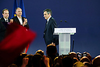 JEAN-CHRISTOPHE LAGARDE, JEAN-FRANCOIS COPE, FRANCOIS FILLON - MEETING DE FRANCOIS FILLON A PARIS, FRANCE, LE 09/04/2017.