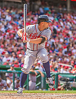 14 April 2013: Atlanta Braves outfielder Reed Johnson in action against the Washington Nationals at Nationals Park in Washington, DC. The Braves shut out the Nationals 9-0 to sweep their 3-game series. Mandatory Credit: Ed Wolfstein Photo *** RAW (NEF) Image File Available ***