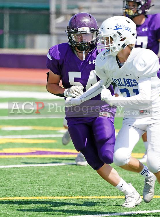 Amador Valley High School Junior Varsity player Sean Cervantes 54, in action against Acalanes in Pleasanton, CA April 10, 2021. (Photo by Alan Greth / AGP Sports)