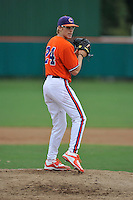 Freshman pitcher Jake Higginbotham (24) of the Clemson Tigers of Hoschton, Ga., in a fall practice intra-squad Orange-Purple scrimmage on Sunday, September 27, 2015, at Doug Kingsmore Stadium in Clemson, South Carolina. (Tom Priddy/Four Seam Images)