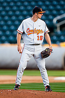 Blake Barnes (16) of the Oklahoma State Cowboys on the mound during a game against the Missouri State Bears at Hammons Field on March 6, 2012 in Springfield, Missouri. (David Welker / Four Seam Images)