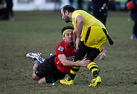 08 MAR 2015 - NOTTINGHAM, GBR - Southampton Qudditch Club 1 seeker Robbie Young attempts to catch the snitch, the tennis ball in the black sock hanging from the back of snitch runner Denis Plog's shorts, during the 2015 British Quidditch Cup final against European Cup holders Radcliffe Chimeras at Woollaton Hall and Deer Park in Nottingham, Great Britain. Southampton Quidditch Club 1 beat the reigning European Cup holders 120-90 to take the title (PHOTO COPYRIGHT © 2015 NIGEL FARROW, ALL RIGHTS RESERVED)