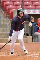 Cedar Rapids Kernels first baseman Gabe Snyder (24) in action against the Burlington Bees at Veterans Memorial Stadium on April 14, 2019 in Cedar Rapids, Iowa.  The Bees won 6-2.  (Dennis Hubbard/Four Seam Images)