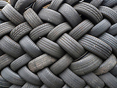 London, England. Tyres in a pattern, like woven.
