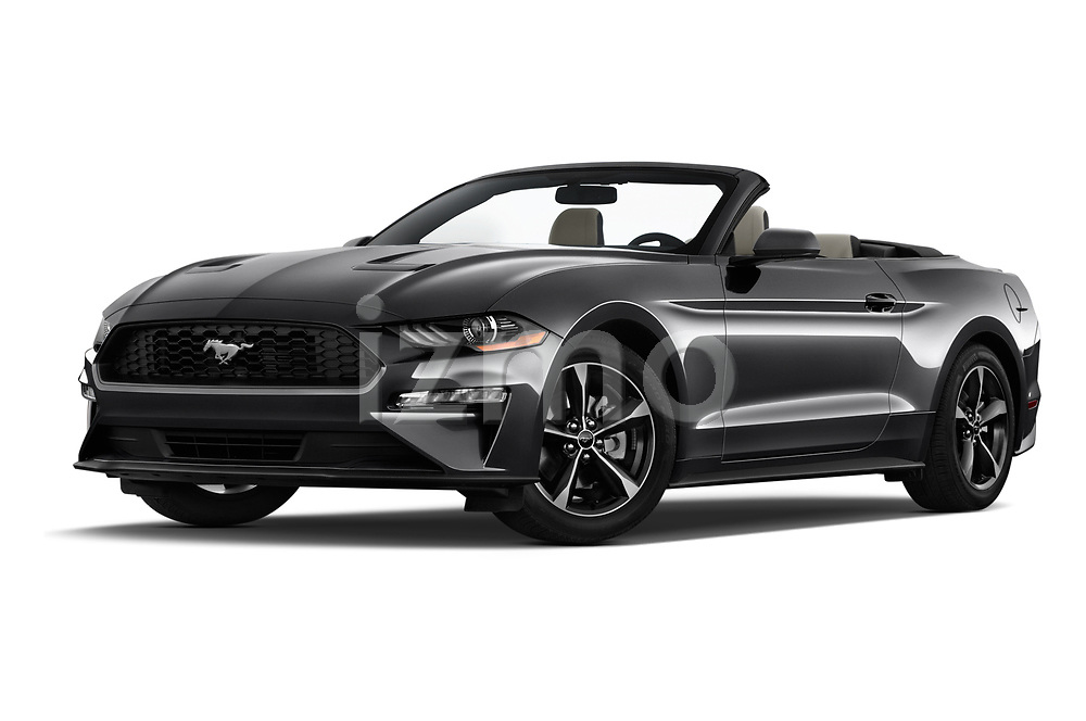 Stock pictures of low aggressive front three quarter view of a 2019 Ford Mustang EcoBoost 2 Door Convertible