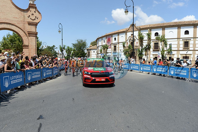 The start of Stage 11 of La Vuelta d'Espana 2021, running 133.6km from Antequera to Valdepeñas de Jaén, Spain. 25th August 2021.     <br /> Picture: Cxcling | Cyclefile<br /> <br /> All photos usage must carry mandatory copyright credit (© Cyclefile | Cxcling)