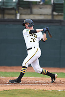 Bristol Pirates Eli Wilson (28) bats during the game with the Burlington Royals at Boyce Cox Field on June 19, 2019 in Bristol, Virginia. The Royals defeated the Pirates 1-0. (Tracy Proffitt/Four Seam Images)
