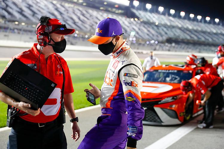 #11: Denny Hamlin, Joe Gibbs Racing, Toyota Camry FedEx, #23: Bubba Wallace, 23XI Racing, Toyota Camry DoorDash crew chief Michael Wheeler