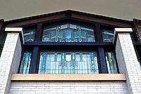 F.L. Wright: Dana House. Windows in East Wing.  Photo '78.