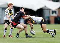 28th March 2021; Rosslyn Park, London, England; Betfred Challenge Cup, Rugby League, London Broncos versus York City Knights; Josh Hodson of London Broncos tackles Tyme Dow-Nikau of York City Knights who drops the ball