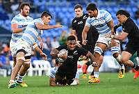12th September 2021; Cbus Super Stadium, Robina, Queensland, Australia; Rugby International series, New Zealand versus Argentina:  Sevu Reece brought down by Argentina