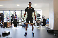 Pictured: Federico Fernandez lifts weights in the gym Wednesday 14 September 2016<br />Re: Swansea City FC training at Fairwood, Wales, UK