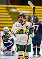 9 February 2020: University of Vermont Catamount Forward Ali O'Leary, a Senior from Reading, MA, smiles after the Cats score their 4th goal of the game in the second period against the University of Connecticut Huskies at Gutterson Fieldhouse in Burlington, Vermont. The Lady Cats defeated the Huskies 6-2 in the second game of their weekend Hockey East series. Mandatory Credit: Ed Wolfstein Photo *** RAW (NEF) Image File Available ***