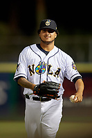 New Orleans Baby Cakes pitcher Jose Quijada (40) during a Pacific Coast League game against the Oklahoma City Dodgers on May 6, 2019 at Shrine on Airline in New Orleans, Louisiana.  New Orleans defeated Oklahoma City 4-0.  (Mike Janes/Four Seam Images)