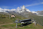 View of Riffleberg Hotel and the Matterhorn from the Gornergrat train, Zermatt, Switzerland.