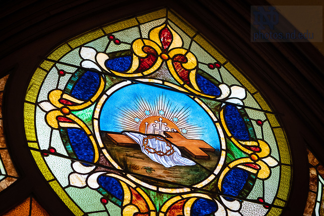May 24, 2020; Stained glass window over the main door to the Basilica of the Sacred Heart (Photo by Matt Cashore/University of Notre Dame)