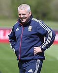 British & Irish Lions training session.Lions head coach Warren Gatland in relaxed mood as the squad start their training in Wales..Vale Resort.15.05.13.©Steve Pope