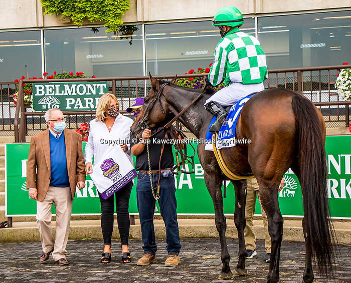 """OCT10, 2020 : Civil Union with Joel Rosario aboard, wins the """"Win & You're In""""   Grade 1 Flower Bowl Stakes, for fillies & mares, on the inner turf, at Belmont Park, Elmont, NY.  Sue Kawczynski/Eclipse Sportswire/CSM"""
