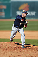 Wingate Bulldogs relief pitcher Cameron Price (30) delivers a pitch to the plate against the Catawba Indians at Newman Park on March 19, 2017 in Salisbury, North Carolina. The Indians defeated the Bulldogs 12-6. (Brian Westerholt/Four Seam Images)