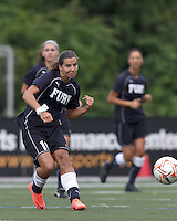 New York Fury midfielder Tobin Heath (19) passes the ball. In a Women's Premier Soccer League Elite (WPSL) match, the Boston Breakers defeated New York Fury, 2-0, at Dilboy Stadium on June 23, 2012.