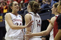 BERKELEY, CA - MARCH 30: Ashley Cimino receives high fives during Stanford's 74-53 win against the Iowa State Cyclones on March 30, 2009 at Haas Pavilion in Berkeley, California.